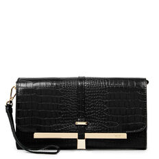 TABLE TREASURES DELUXE FLAP CROSS BODY  BLACK  hi-res