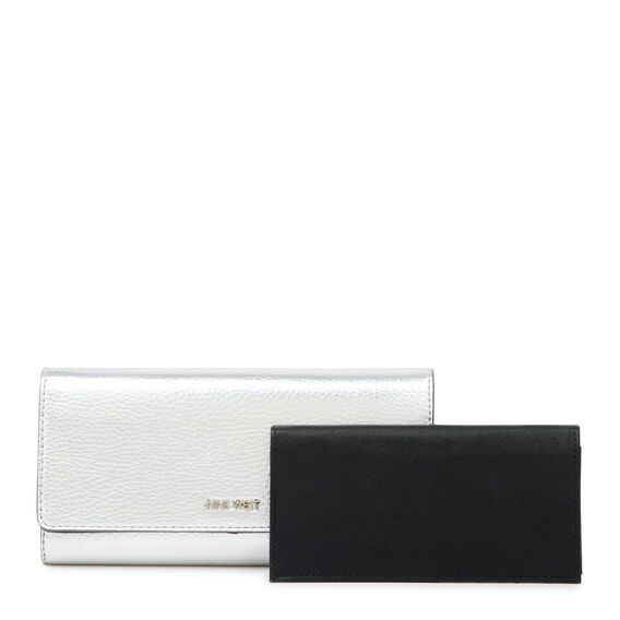 SMALL ACCESSORIES CONTINENTAL WALLET  SILVER  hi-res