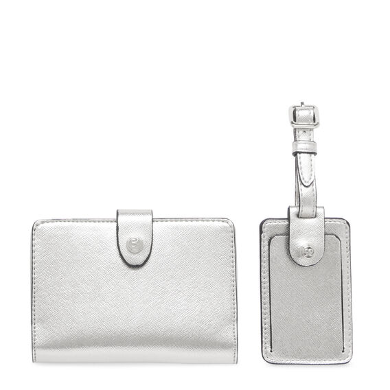 GIFTING LUGGAGE TAG AND PASSPORT CASE  SILVER  hi-res