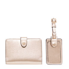 GIFTING LUGGAGE TAG AND PASSPORT CASE  GOLD  hi-res