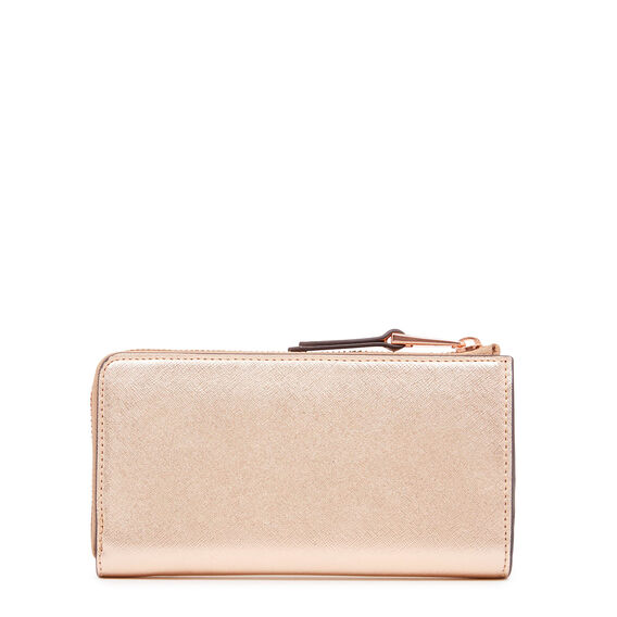 CONTINENTAL HALF ZIP WALLET  ROSE GOLD  hi-res
